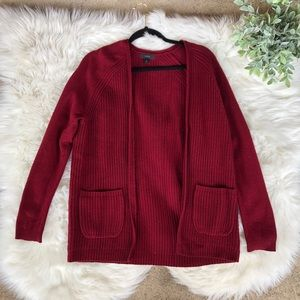 J. Crew Red Open Front Oversized Knit Cardigan